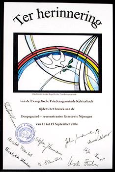 ter herinnering aan bezoek van Evangelische Friedensgemeinde Kelsterbach