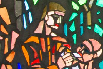 Detail van de kerkramen